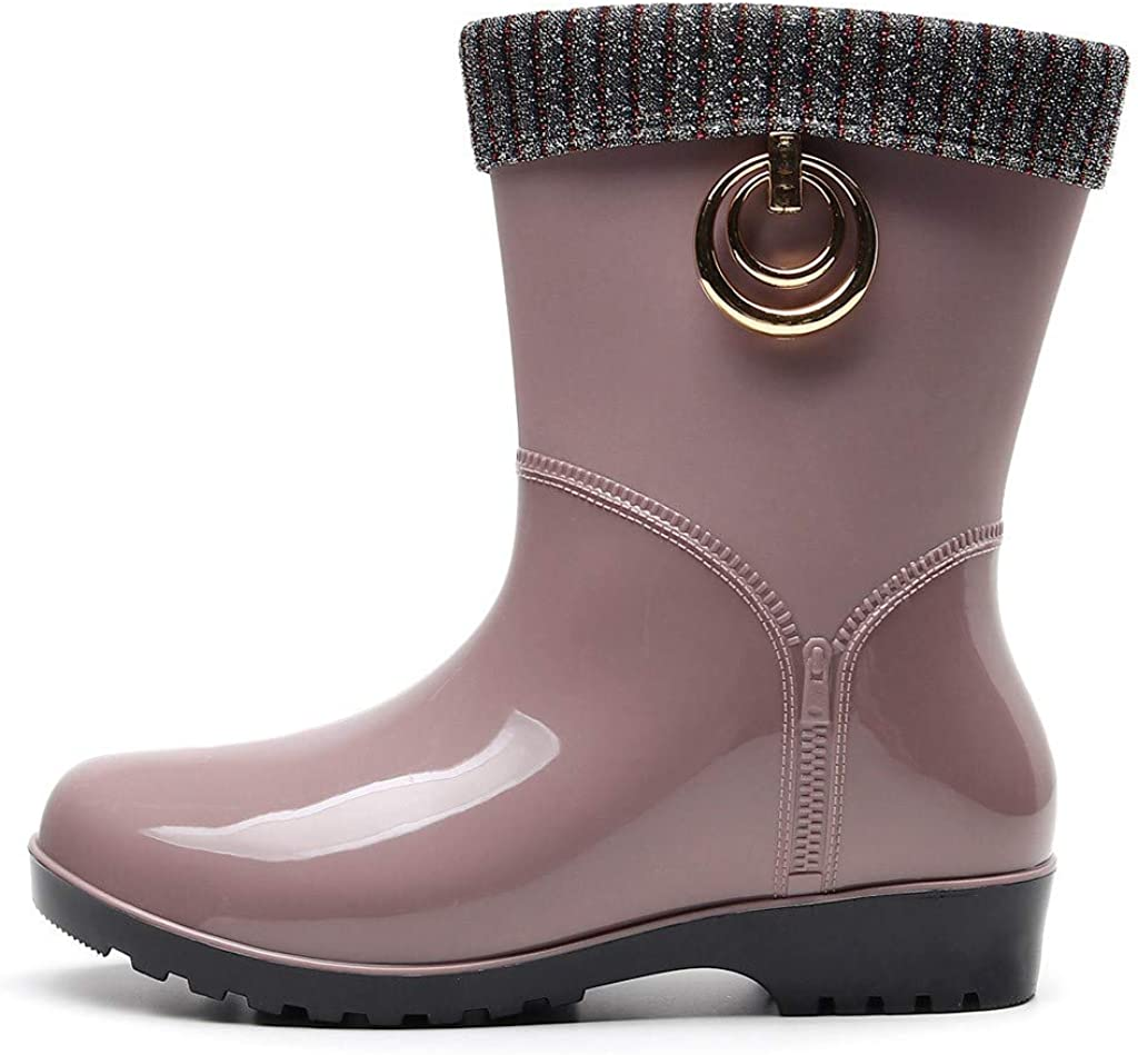 Bota Agua Mujer Jardín Trabajo Lluvia Botas Nieve Caliente Antideslizante Impermeable Casual Planas Zapatos Calzado Outdoor Fannyfuny