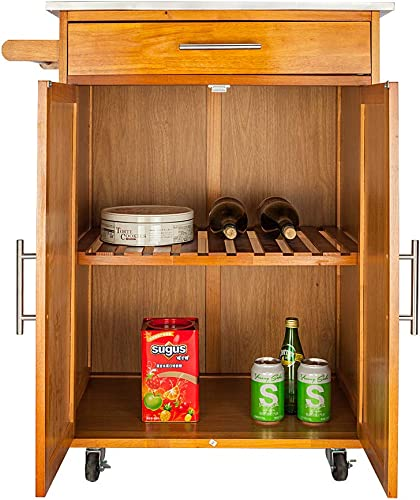 Teeker Wooden Kitchen Rolling Island Cart Cabinet