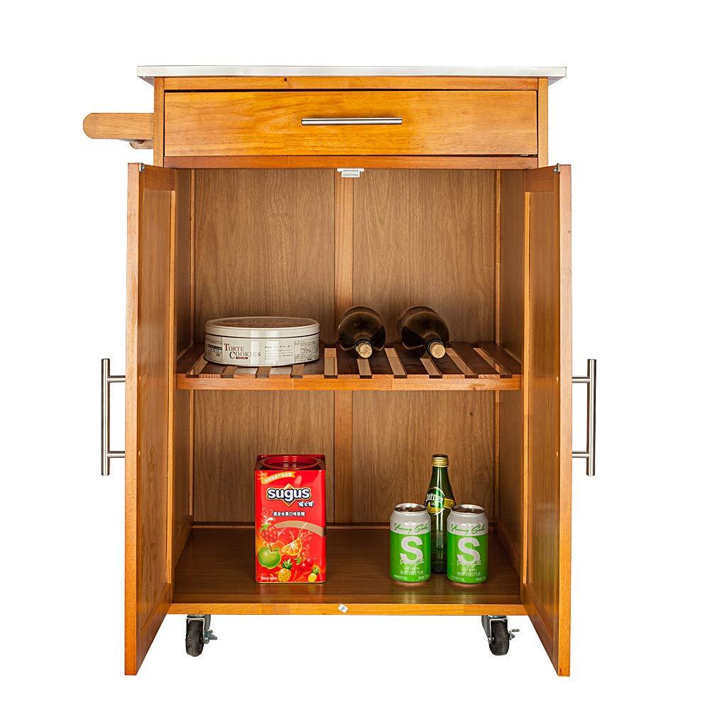 Binlin Kitchen Trolley Cart,Modern Rolling Kitchen Trolley Cart w/Drawer & Wine Rack Storage Cabinet Home Restaurant Island Serving Cart w/Wheels