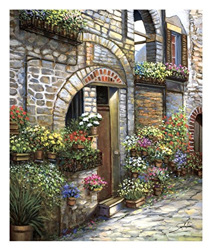 (Global Gallery Sambataro Flower Pots at Spello-Giclee on Paper Print-Unframed-24 x 20 in Image Size, 24