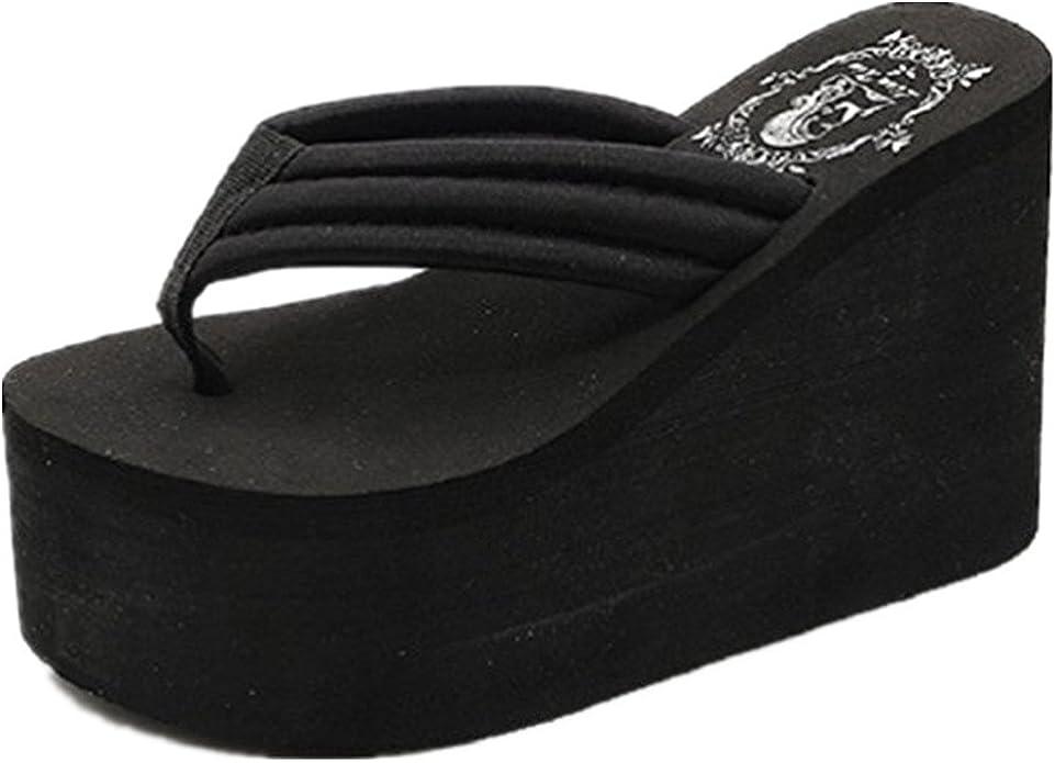 Sunhusing Wedge Slippers Womens Summer Sequins Clip Toe Anti-Slip Sandals Slippers Indoor /& Outdoor Flip-Flops
