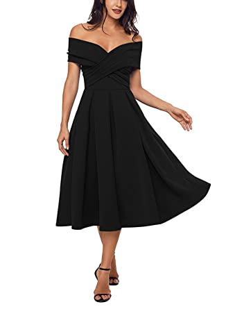 Off The Shoulder Pleated Prom Evening Dress V-Neck Tea Length Formal Ball  Gown Black 2179598d1023