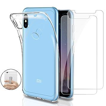 Younme Funda para Xiaomi Redmi Note 6 Pro, Carcasa Transparente Silicona Suave TPU Gel + 2 pcs Protector Pantalla in Cristal Templado [con Smartphone ...