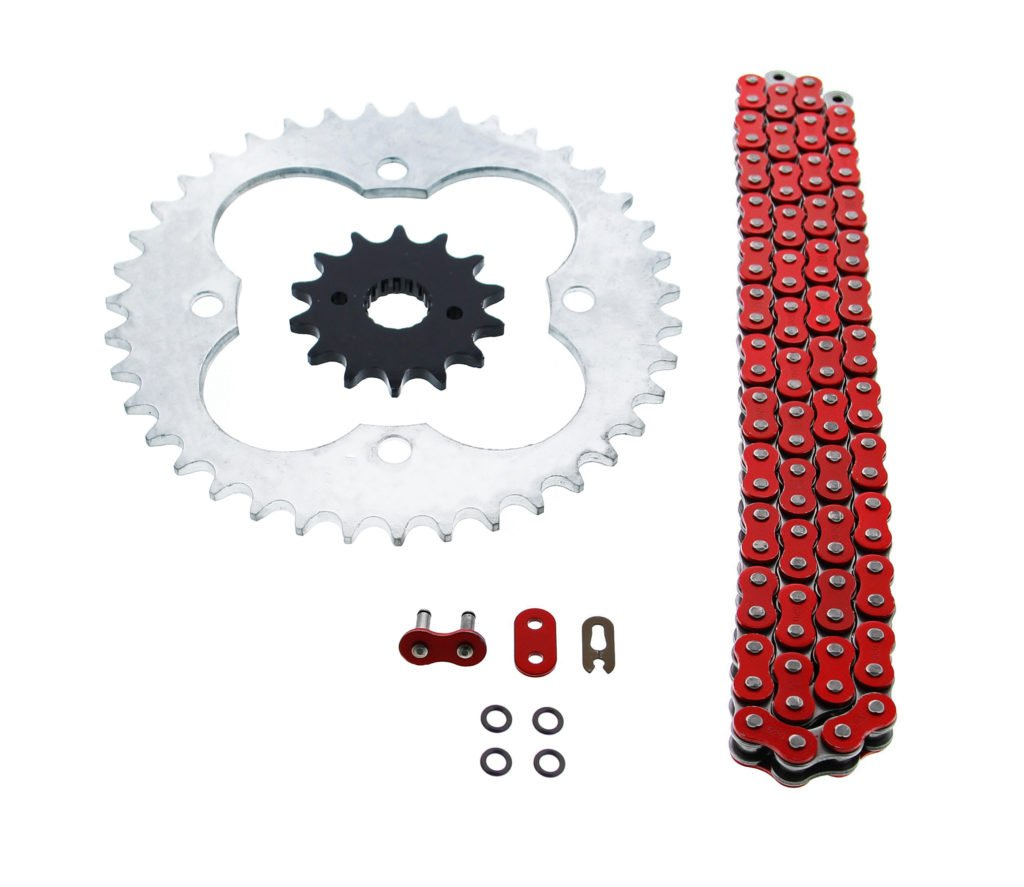 Cycle ATV - Red O Ring Chain & Sprocket Silver 14/39 520-96L fits Honda - 400EX TRX400EX TRX400 TRX 400 EX by CycleATV