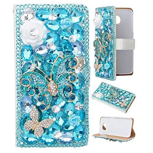 (Spritech(TM) LG G Stylo Phone Case,White PU Leather Wallet Slim Fold Cover 3D Handmade Blue Bling Rhinestone Design white Flower Blue Butterly Smartphone Cover with Card Slot for LG G Stylo)