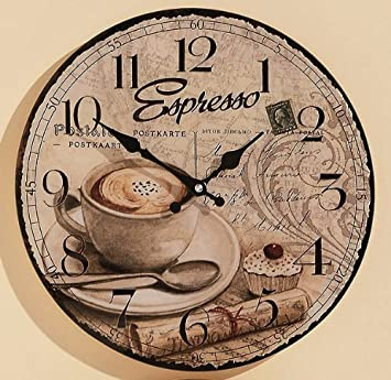 KUHEIGA Wanduhr Ø: 34cm aus Glas Küchenuhr Kaffee Küche Espresso ...