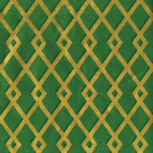 Entertaining with Caspari Continuous Roll of Gift Wrapping Paper, Trellis Green and Gold Foil, 8-Feet, 1-Roll