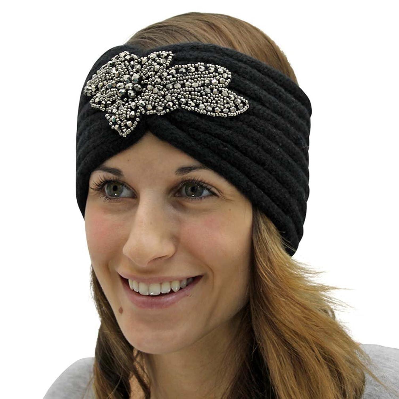 Luxury Divas Black Knit Beaded & Bejeweled Headband