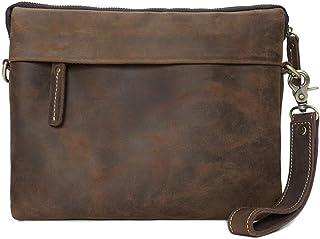HUBAOTAI Men's Vintage Leather hand-held bag, simple generosity, shopping/travel