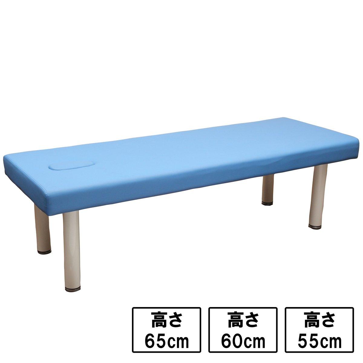 高反発 整体ベッド ( ネジ固定脚有孔 ) ブルー 長さ190cm×幅60cm×高さ55cm [ マッサージベッド 施術ベッド 整体ベッド エステベッド マッサージ台 施術台 マッサージ 整体 ベッド ] B076C7MFNL 高さ55cm