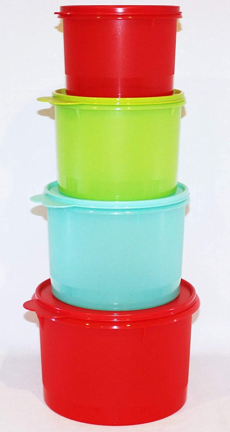 Tupperware Set of 4 Stacking Canisters 5, 7, 10 and 14 Cup Red Green Blue