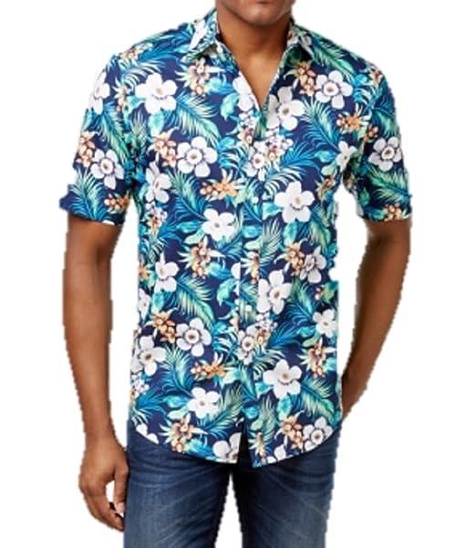 3b58899593d Club Room Men s Tropical Floral Cotton Shirt (Small) at Amazon Men s ...