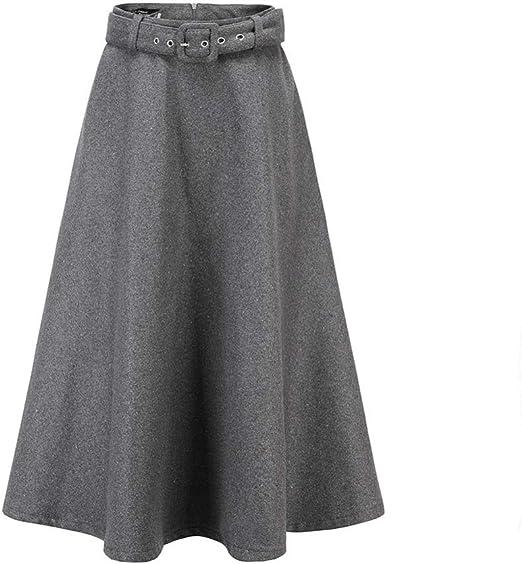 LXIANGP Falda de Mujer Moda Joker Falda Algodón Cintura Alta Medio ...