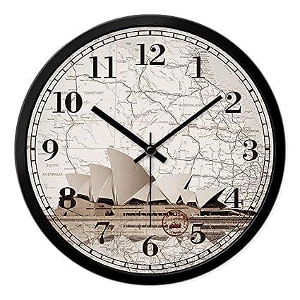 YROAR CLOCKS Reloj de pared americano creativo de estilo europeo moderno silencioso cuarzo diagramas de pared