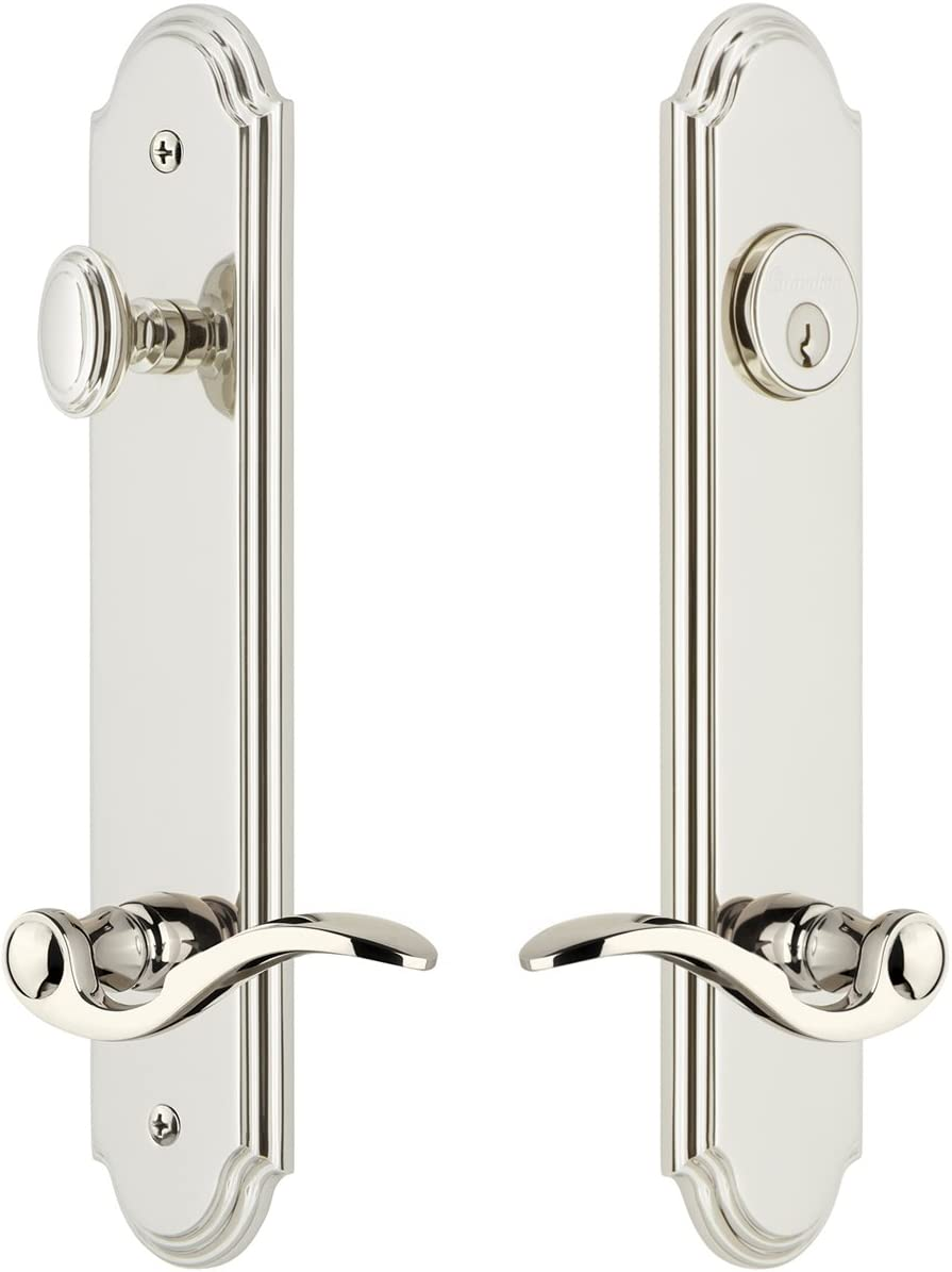 Grandeur Hardware 841023 Arc Tall Plate Complete Entry Set with Bellagio Lever Backset Size Lifetime Brass 2.75