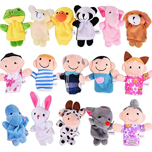 FunsLane Story Time Finger Puppets Set 16 Pcs - 10 Animals and 6 People Family Members Puppets - Theater Puppet Cardboard