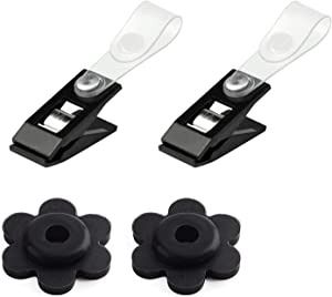 SUMILUOCHEN 2 Pieces Garden Flag Rubber Stoppers and Plastic Clips, Accessories for Garden Flag Poles Stand