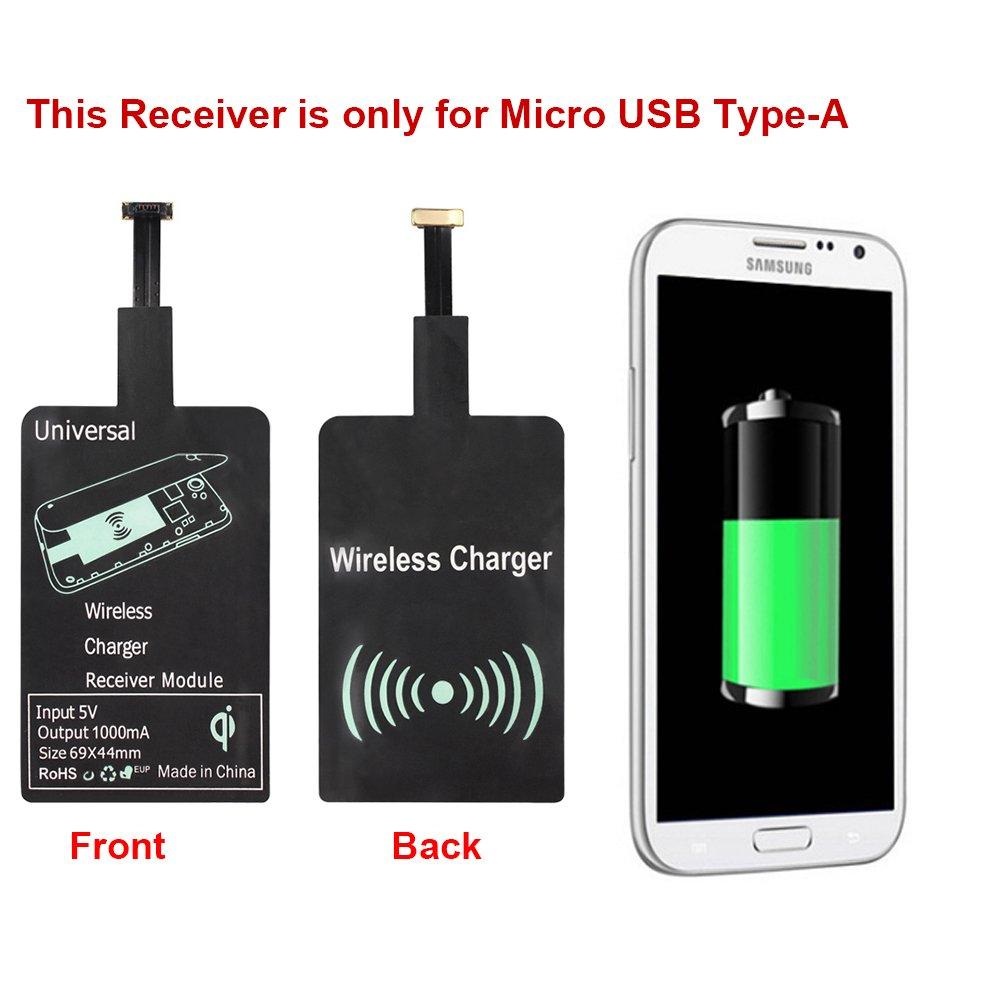 Huawei VIVO Pentax Blackberry HTC Nokia Type-A OPPO Et dautres Micro USB t/él/éphone Android Qrity Qi R/écepteur de Charge Sans Fil Inductive Pour Samsung Galaxy S2//S3//S4//S5//Note 2//3//4