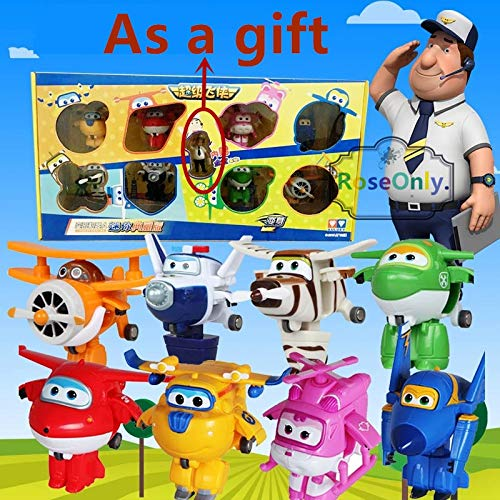 PampasSK Action & Toy Figures 8pcs/lot Super Wings Toys Mini Planes 7cm Transformation Robot Action Figures Toys Baby Toys for Gifts 1 PCs