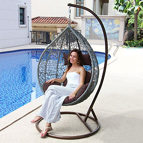 Island Gale Hanging Basket Chair Outdoor Front Porch Furniture with Stand and Cushion (Grey Wicker, Brown Cushion) (Wicker Chair Base)