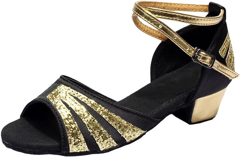 staychicfashion Girls Glitter Latin Salsa Dance Shoes Ballroom Peep-Toe Satin Low Heels Sandal for Kids