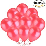 """Tinksky Red Latex Metallic Balloons, 12"""", Pack of 100"""