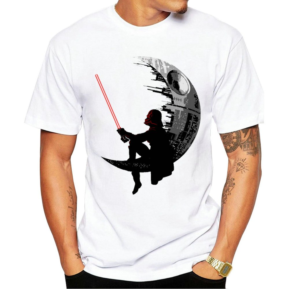 2017 New Fashion Darthworks Design Men T-shirt Short Sleeve Hipster Star Wars Tops The Darth King Printed t shirts Cool tee (XXL)