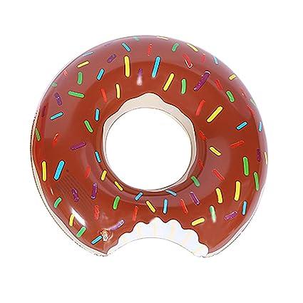 Flotador hinchable con forma de rosquilla de fresa para niños, chocolate, 80 cm