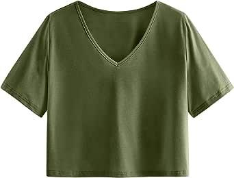 SweatyRocks Women's Summer Short Sleeve Crop Top Letter Print Casual T-shirt