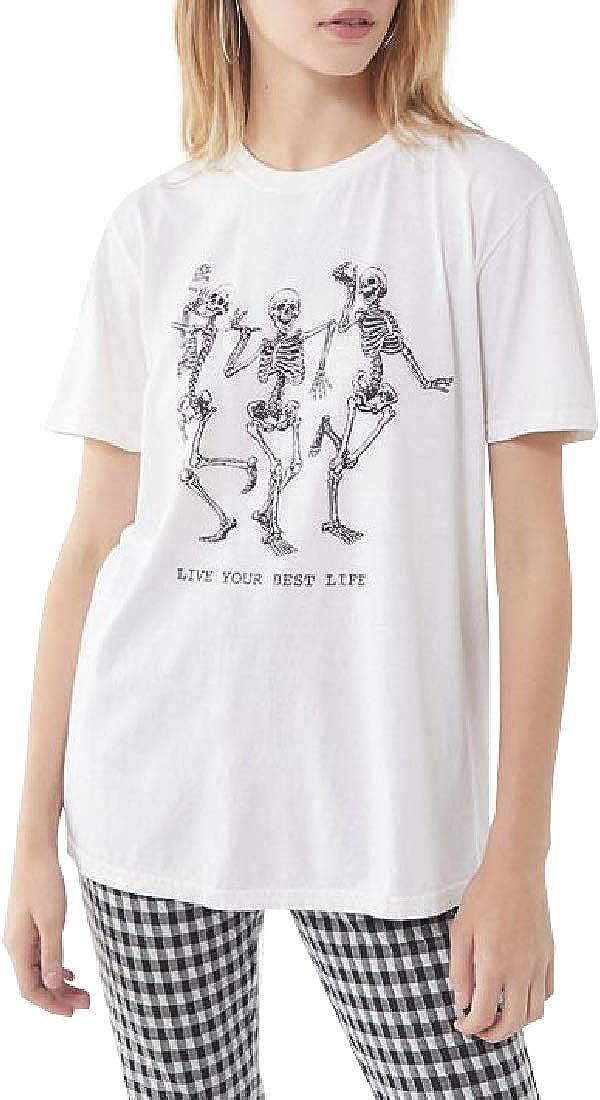 Funny Skull Skaters Women V-Neck T-Shirts Short Sleeve