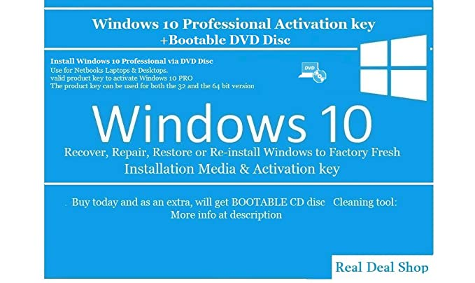 Windows 10 Professional Activation key + Bootable DVD Disc: Amazon
