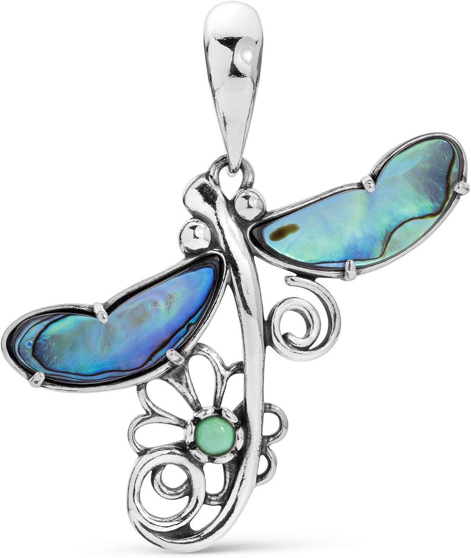 American West Sterling Abalone and Variscite Gemstone Designer Fritz Casuse Dragonfly Pendant Enhancer