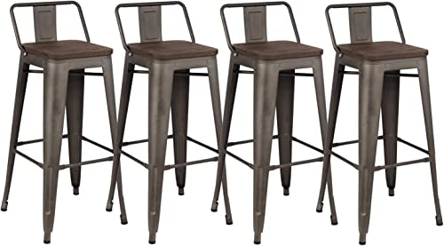 Kmax Industrial Metal Bar Stools Set - Height Bar Stools Chairs with Backs Indoor Outdoor, 30 , Set of 4, Gun