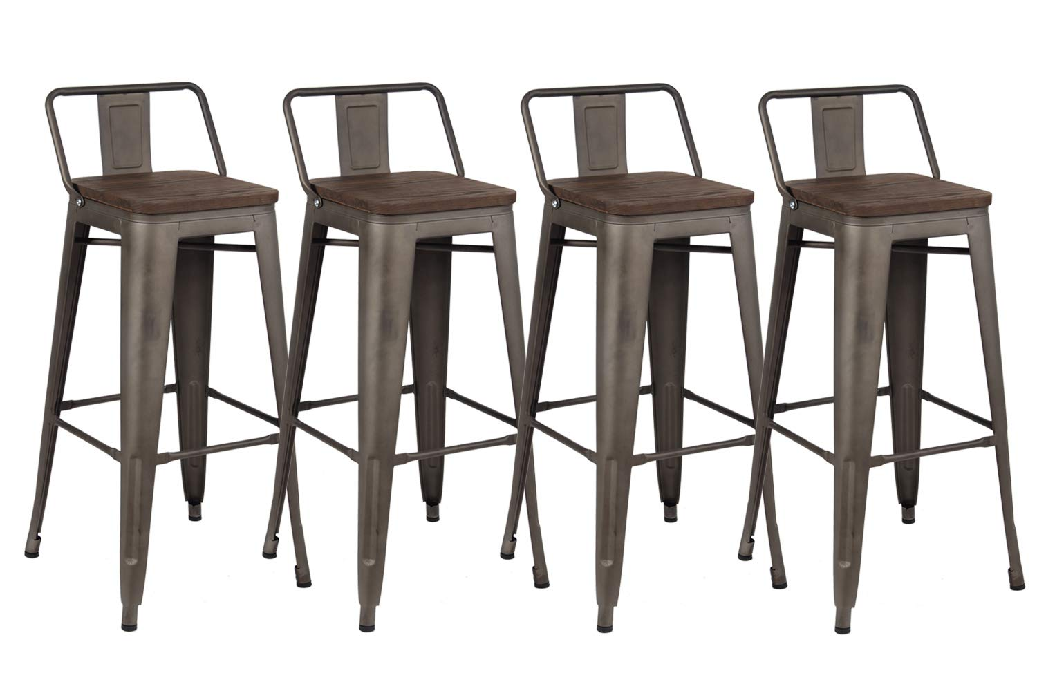 Kmax Industrial Metal Bar Stools Set - Height Bar Stools Chairs with Backs Indoor Outdoor, 30'', Set of 4, Gun by Kmax
