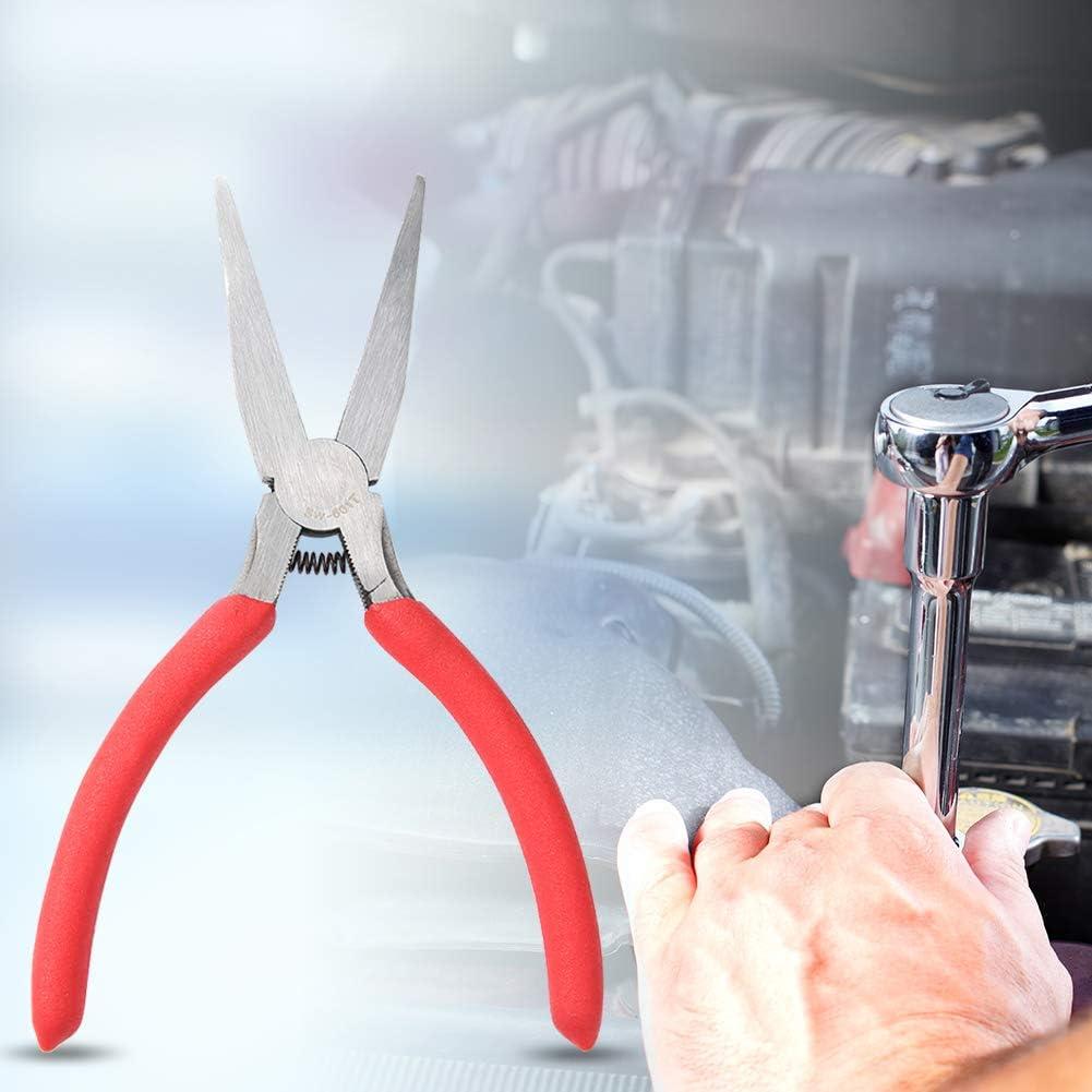 SW-602T manuelle Schmuckzange 6 Zoll zahnlose Flachzange roter PVC-Griff Flachzange starnearby Langzange Edelstahl-Kurzkettenzange DIY-Handzange