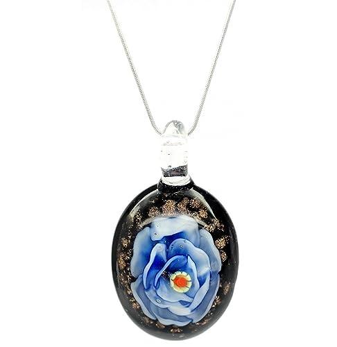 2bc4111a6731 Motivos florales decorativo diseño de flor azul collar con colgante en  forma persiana veneciana de cristal Murano lámpara de techo diseño de   Stylish ...