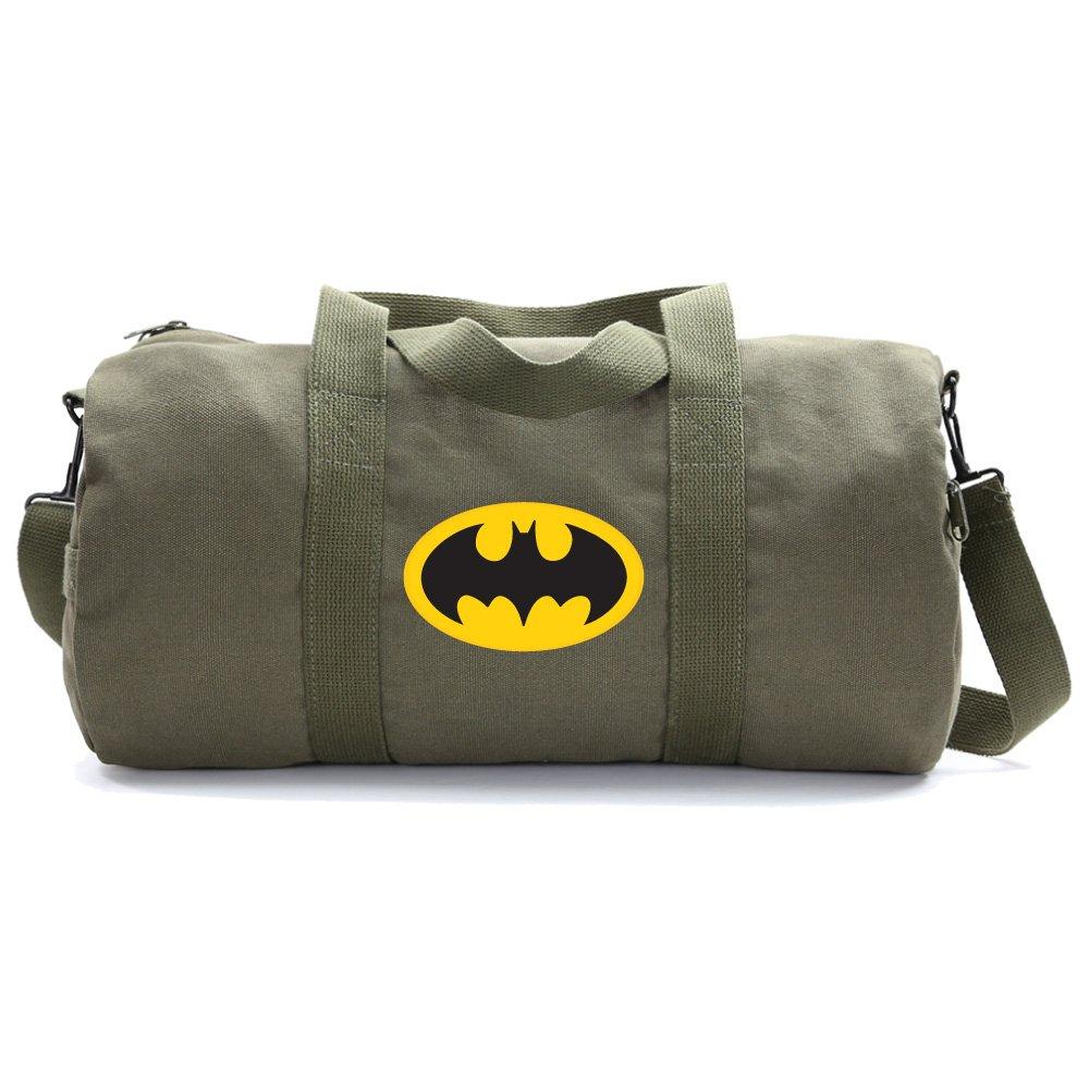 Batman Bat Symbol Heavyweight Canvas Duffel Bag in Olive, Large