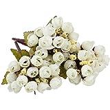 BQLZR 15Fiori Artificiali Rose Buds finta seta bianco bellissimo bouquet da sposa matrimonio partito Decor confezione da 3