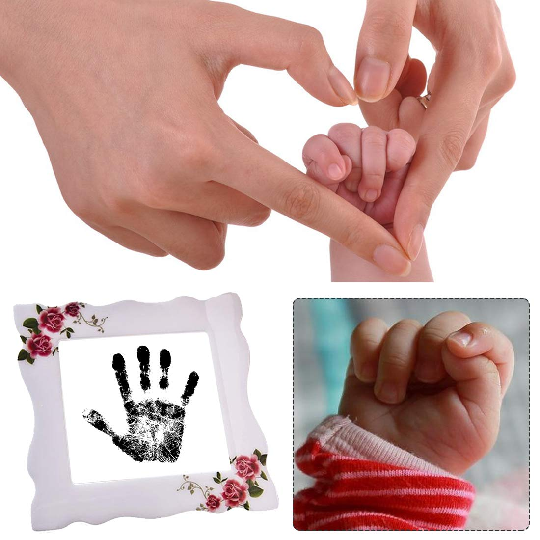 Yolyoo Baby Handprint and Footprint Ink Pad for Newborn,Inkless Infant Hand & Foot Stamp,No Mess and Baby Safe Included Safe Non-Toxic Ink Pad White