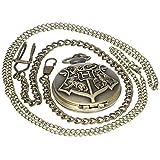 Vintage Retro Bronze Harry Potter Hogwarts School Symbol H Color Dial Quartz Pocket Watch Analog Necklace Pendant Womens Mens