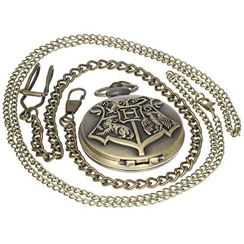Vintage Retro Bronze Harry Potter Hogwarts School Symbol H Color Dial Quartz Pocket Watch Analog Necklace Pendant Womens Mens Pocket Watch Timepiece