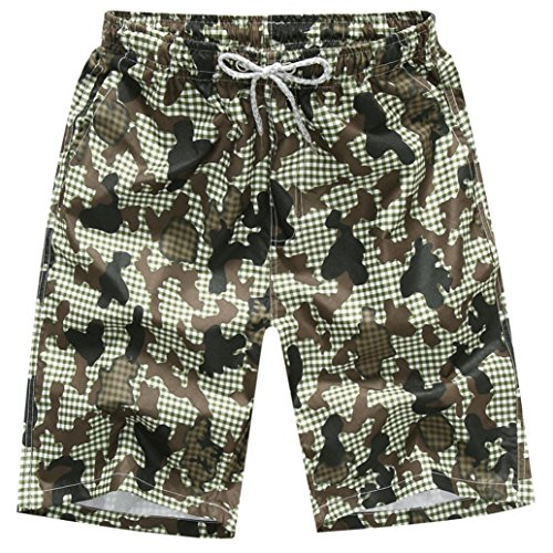 WUAI Clearance Men's Swim Trunks Loose Fit Fashion Outdoor Lightweight Quick Dry Shorts (Camouflage, US Size M = Tag L)