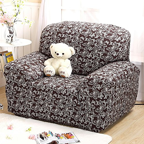 Yazi White Butterfly Spandex Fabric Recliner Slipcover