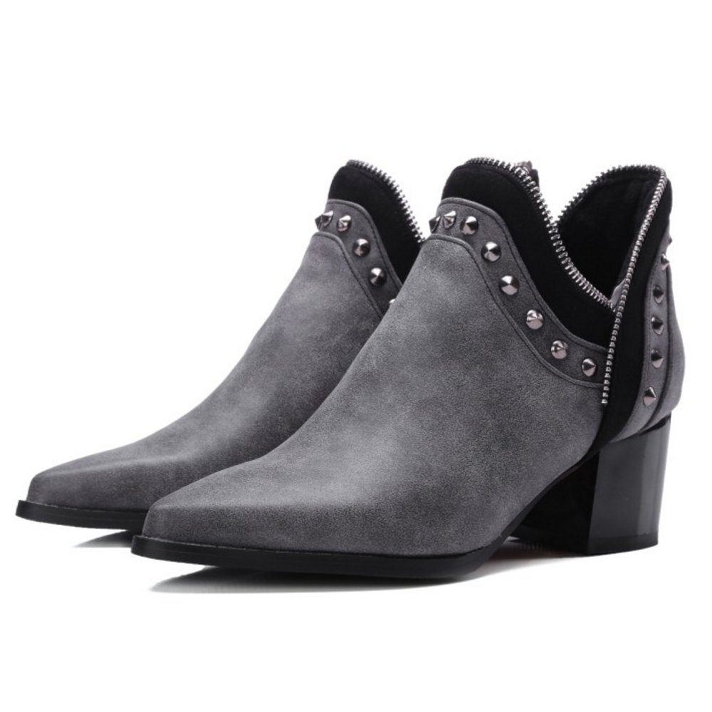 Zanpa Women Fashion Pull On Bootie Boots with Rivets