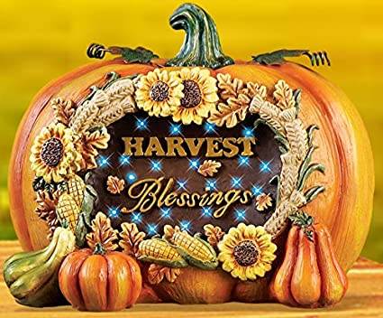 Amazon Com Lighted Autumn Harvest Blessings Pumpkin Decoration With
