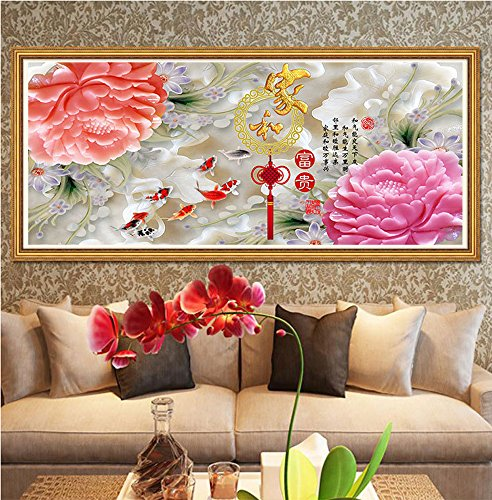 5D new diamond drill full circle diamond embroidery painting the living room and a painters sharply Blossoming peony stitch nine fish Figure,20090 by China palaeowind