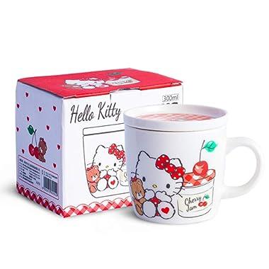 Hello Kitty Cartoon Bone Mug, Coffee Cup, Creative Advanced Gift Cup,11.3 OZ(with a lid)