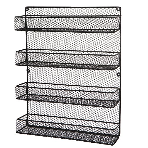 BBBuy 4 Tier Spice Rack Country Rustic Chicken Large Cabinet or Wall Mounted Wire Pantry Storage Organizer, Black