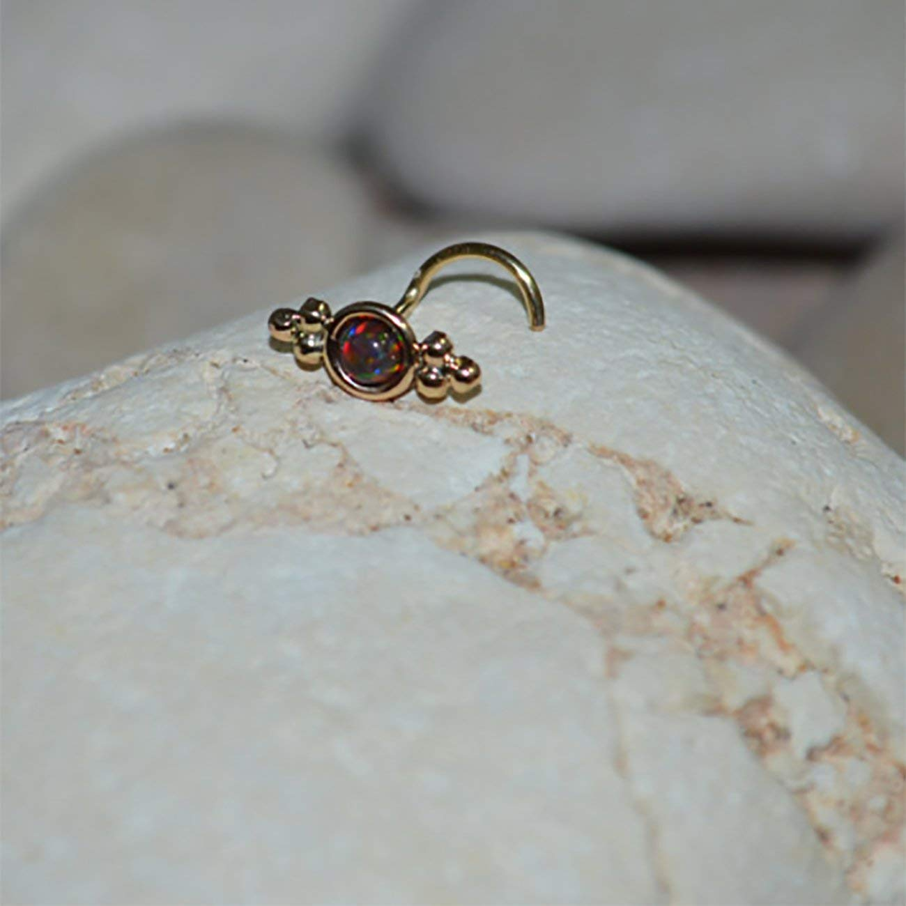 Amazon Com 3mm Black Red Opal Nose Stud Earring Gold Nose Hoop Tragus Stud Earring Gold Nose Ring 16g