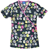 Cherokee 4826C Women's Scrub HQ Cotton Mock Wrap Print Scrub Top Owl Be There Medium